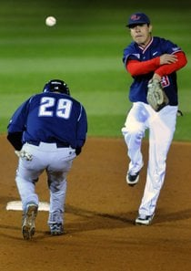 GU's Ernesto Ortiz gets San Diego's James Meador out at second in the eight inning (Spokesman.com)