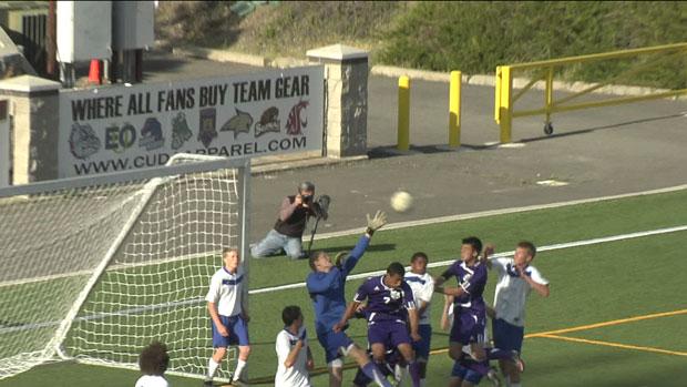 Kamiak's Tyler Hawkinson gets a head on a corner kick for a goal against Mead (Photo: SWX)