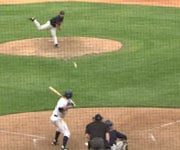 RiverHawk's Tom Barry (Phoenix College) gets a hit in Friday's home-opener (Photo: SWX)