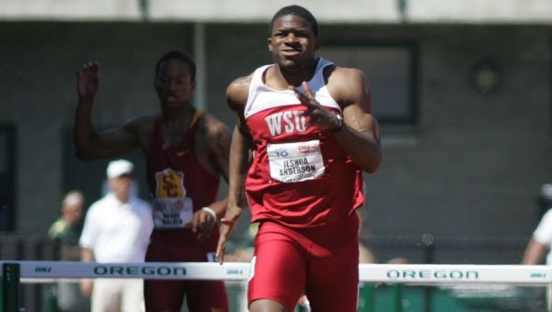 Jeshua Anderson ran the top time in the men's 400m hurdles semifinals to advance to the finals (Photo: Anderson at Pac-10 championship / Courtesy: WSU Athletics)