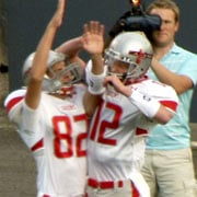 Ferris' Jason Bates (left) and Connor Halliday (right) celebrate a touchdown (Photo: SWX)