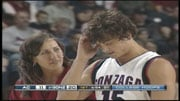 GU's Matt Bouldin was helped off the court after colliding with an Augustana player Wednesday night (Photo: SWX)