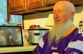 Emmett Pearson is waiting for the Vikings to clench a Super Bowl win before he shaves