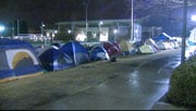Dozens of Zags fans camped outside McCarthey Athletic Center on Wednesday night (Photo: SWX)