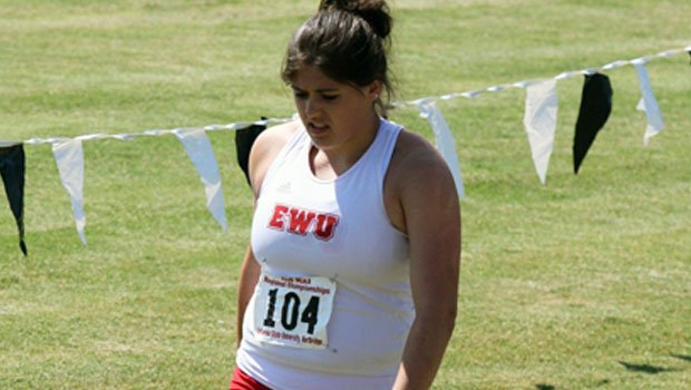EWU's Nicole Luckenbach broke her own hammer throw record at WAR 3 (Washington versus Oregon, Montana and Idaho) on April 10 (Photo: EWU Athletics)