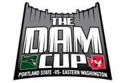 The Dam Cup logo features the two schools on the front of a graphical dam.