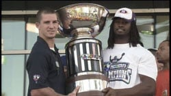 The Shock showed off their AFL hardware Wednesday night at a victory rally outside Spokane Arena (Photo: SWX)