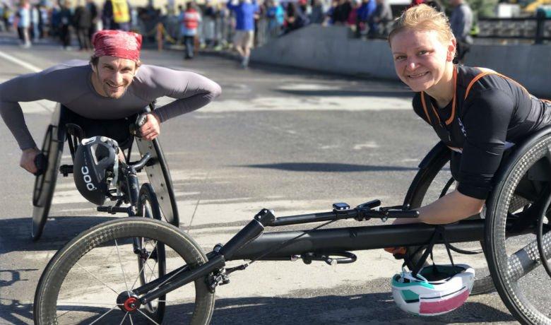 Wheelchair winners Josh George and Susannah Scaroni.