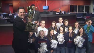 KHQ's Sean Owsley presented students from Mt. Spokane High School the SWX Spirit Cup Award Presented by Rockwood Clinic Friday morning on KHQ Local News Today (Photo: SWX)