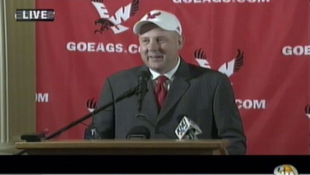 Jim Hayford put on the hat for Eastern Washington on Tuesday during a news conference at the Spokane Club in downtown Spokane (Photo: SWX)