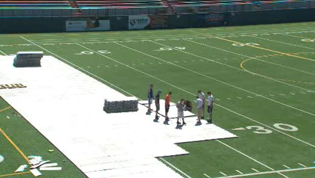 Workers on Wednesday were making the field at Joe Albi Stadium ready for this weekend's game (Photo: SWX)