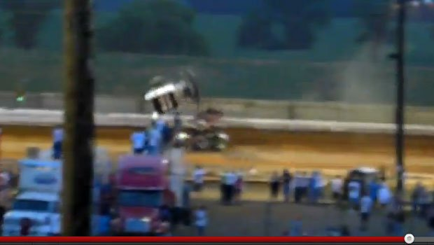 Kasey Kahne walked away unhurt after flipping his car at Pennsylvania (YouTube)