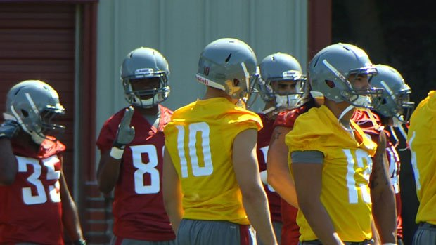 Washington State began with a helmets-only practice on Sunday (Photo: SWX)