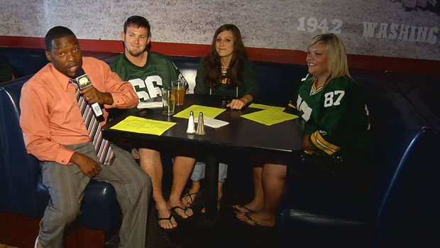 Chauncey found three - count 'em, three - loyal Packer fans at a sports bar in downtown Spokane Thursday night (Photo: SWX)