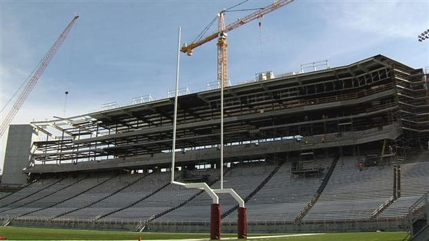 The $80,000,000 structure at Martin Stadium is taking shape and is expected to be completed before the team's first home game on Sept. 8 (Photo: SWX)
