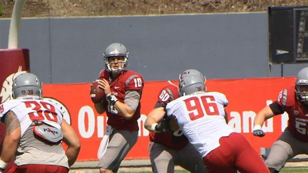 Jeff Tuel threw for 285 yards and two touchdowns in Saturday's Crimson & Gray game (Photo: SWX)