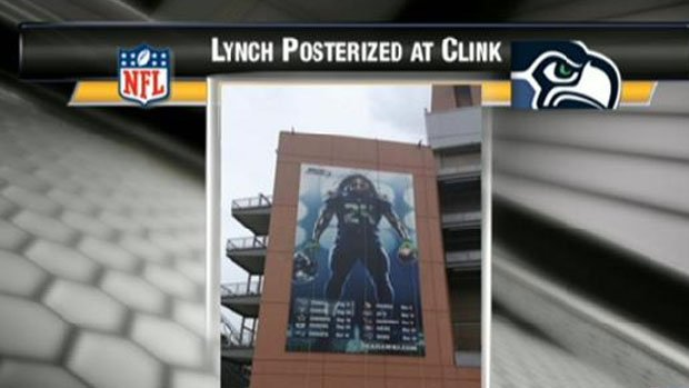 Seahawks owner Paul Allen Tweeted this picture of a huge poster featuring Marshawn Lynch on the outside of CenturyLink Field (Twitter)