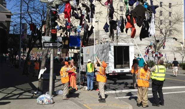 Bloomsday runners left behind 9,000 pounds of clothing that will be used to benefit the disabled people of Spokane (Photo: SWX)