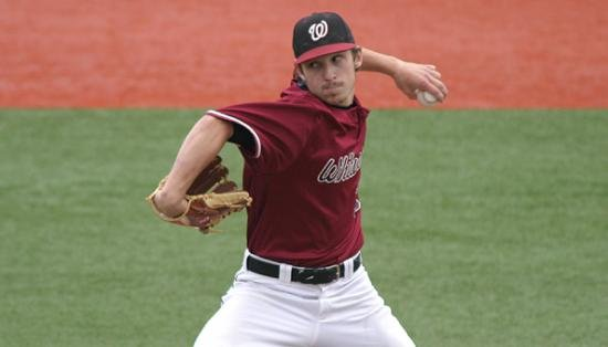 © Nick Scourey allowed just one hit through seven innings (Photo: Whitworth Athletics)