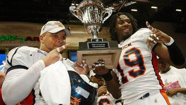 Johnie Kirton (left) helped the Shock win an af2 title in 2009 (Photo: Spokane Shock)