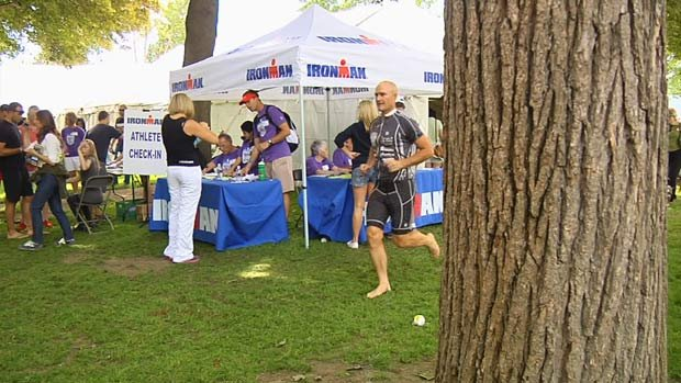 Ironman Coeur d'Alene begins Sunday morning in the chilly waters of Lake Coeur d'Alene (Photo: KHQ/SWX)