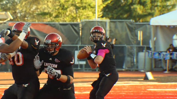 Bo Levi Mitchell won the Walter Payton Award while at Eastern Washington. He is now the No. 2 QB in Calgary (Photo: FILE / SWX)