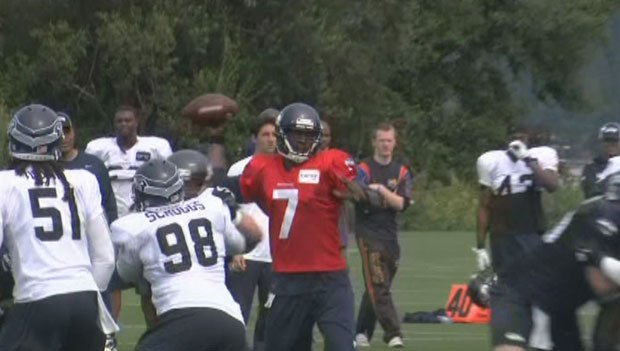 Tarvaris Jackson played with the first team on Tuesday with mixed results.