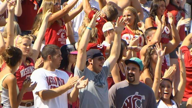  Fans celebrated Andrew Furney's 60-yd field goal in the first half against Eastern Washington (Photo: SWX)