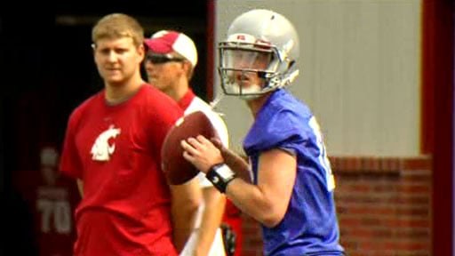 Ferris grad Connor Halliday has taken most of the snaps with the first team in practice this week, but Coach Leach has not said whether he will be the starting quarterback against UNLV (Photo: SWX)