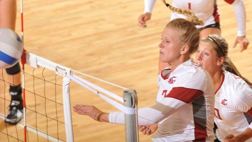Jaicee Harris had 19 kills and 10 digs but it wasn't enough to beat Washington (Photo: WSU Athletics)