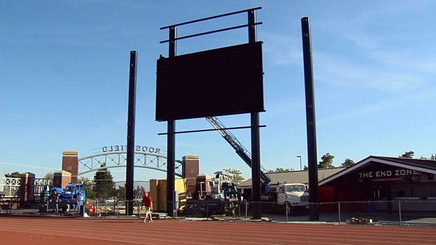 The new video scoreboard at Roos Field is expected to be completed before the Eagles' home opener on Sept. 29 (Photo: SWX)