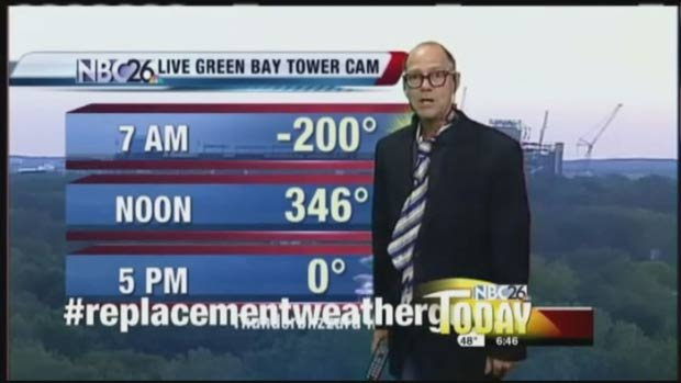 "WGBA in Green Bay poked fun at the NFL by putting a ""replacement weather guy"" on air."