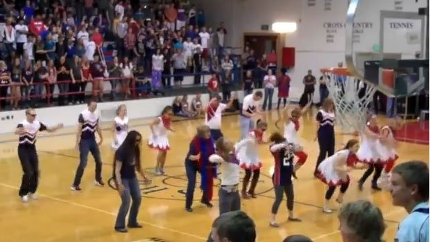 Teachers at Pocatello High School danced Gangnam Style at a pep rally before the annual Poky-Highland game (Photo: YouTube)
