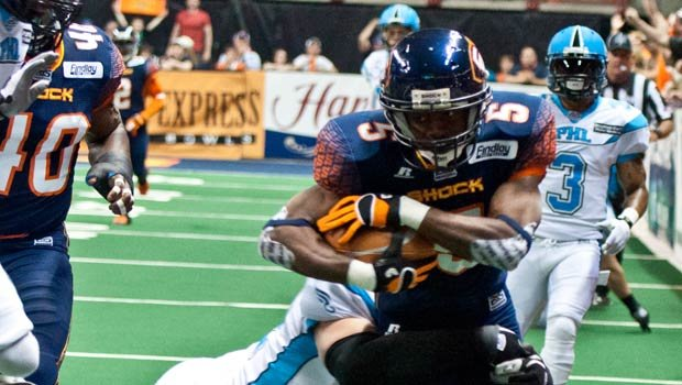 © Terrance Sanders (pictured) and Andrew Nierman agreed to two-year contacts with the Shock. (Spokane Shock/Zach Edwards Photography)