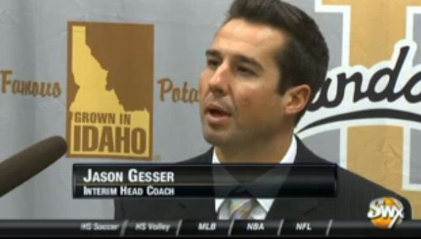  Jason Gesser wore his emotions on his sleeve Monday as he addressed the media as the Vandals' interim head coach (Photo: SWX)