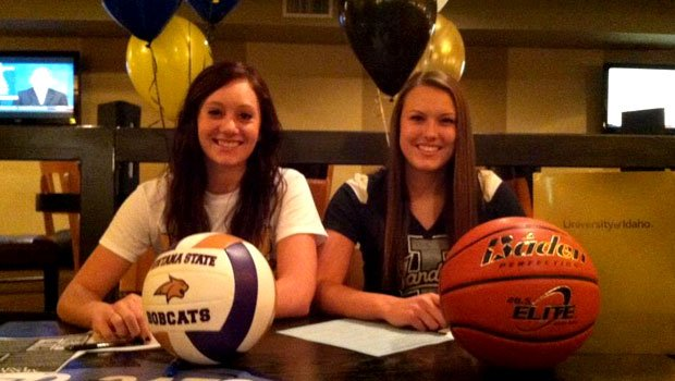 Mt. Spokane's Kennadie Clute (left) and Brooke Reilly (right) signed letters of intent Wednesday morning. (Photo: SWX)