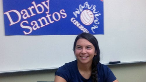 Darby Santos signed a letter of intent to play volleyball at Lewis Clark State on Wednesday. (Don Santos)