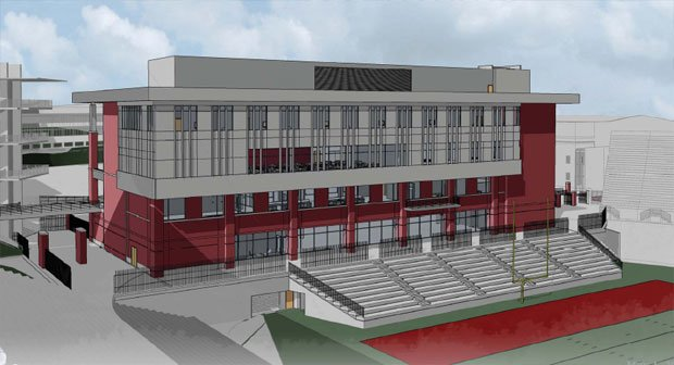 A drawing shows what the new $61 football operations building will look like once it is completed at Washington State.
