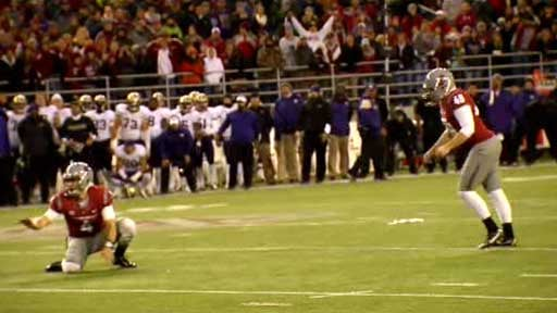 Andrew Furney hit a 27-yard field goal in overtime to give the Cougars the win over Washington in the Apple Cup (Photo: SWX)