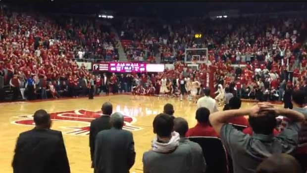 Cougar fans watch in dismay as Kevin Pangos blows past everyone to score two points with 2.2 seconds left in the game. (YouTube)