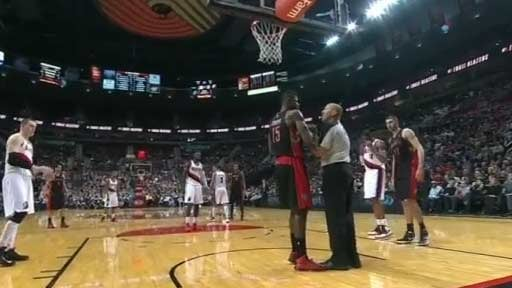Amir Johnson and an official both tugged at the ball after a free throw; Johnson lost (YouTube)