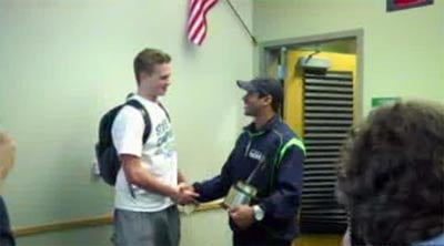 Seahawks QB Russell Wilson surprised Skyline's Max Browne at school on Wednesday (Photo: KIRO)