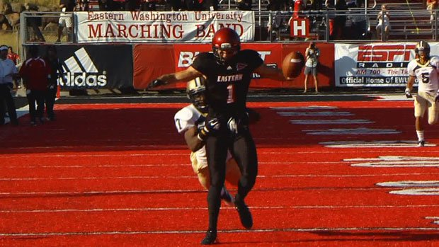 Kaufman broke the FCS record for single season receiving yards in EWU's 45-42 loss in the FCS Playoffs to Sam Houston State (Photo: FILE/SWX)