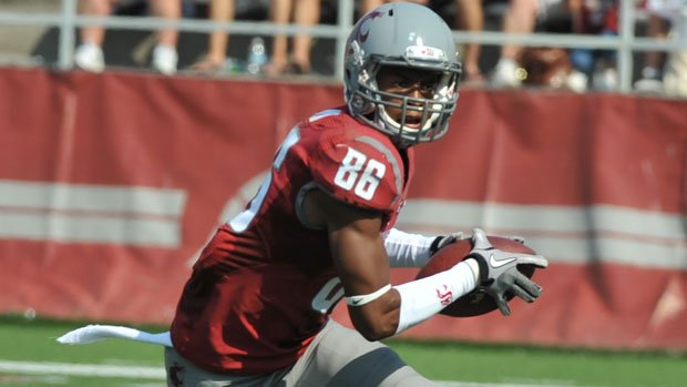 Receiver Marquess Wilson left the WSU football team in November 2012 after making allegations of abuse. He later recanted those claims, saying his comments were misinterpreted (Photo: SWX)