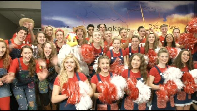 Cheerleaders from Ferris showed up on KHQ Local News Today on Thursday morning to talk about the Rubber Chicken contest tonight at Spokane Arena (Photo: SWX)