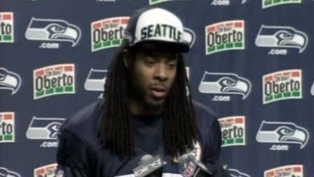 Richard Sherman, now eligible to play after winning the appeal of his suspension, appeared confident in a news conference this week (Photo: KIRO)