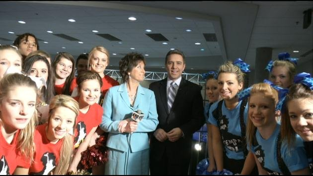 Cheerleaders from University (left) and Central Valley (right) High Schools were on KHQ Local News Today to talk about the big games (Photo: SWX)