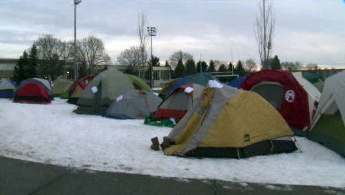 Eager students were evicted from their tents outside the McCarthey Athletic Center on Wednesday, but were allowed to return after 7 a.m. (Photo: SWX)