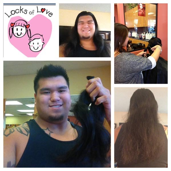 Andrew Roxas donated his hair to Locks of Love in honor of his mother who was diagnosed with breast cancer eight years ago (Photo: Spokane Shock)