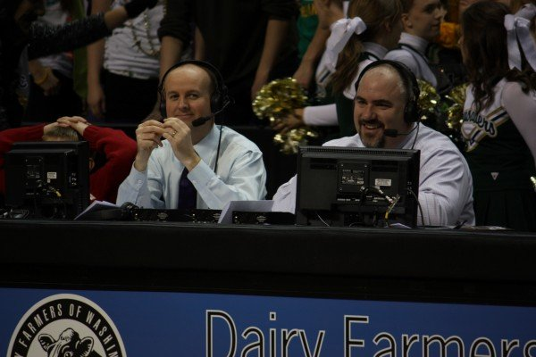 SWX broadcasters Sam Adams (left) and Bill Ames (right) take a break during the action during last year's State B telecasts (Photo: SWX)